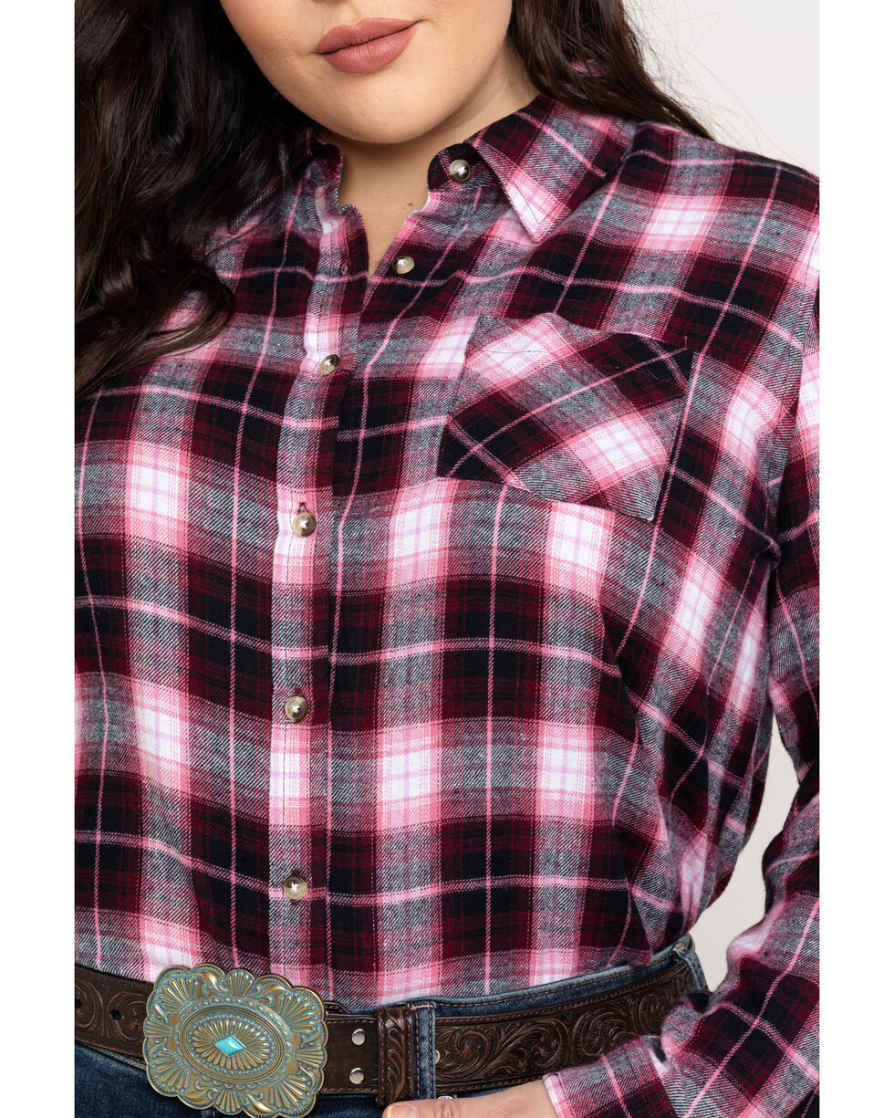 Cumberland Outfitters Women's Plaid Flannel Tunic - Plus, Red, hi-res