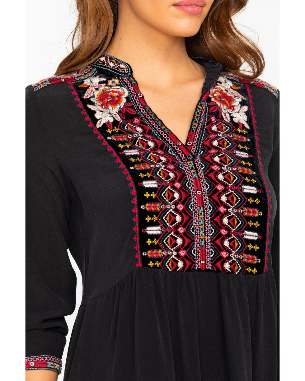 Johnny Was Women's Henley Boho Dress, Black, hi-res