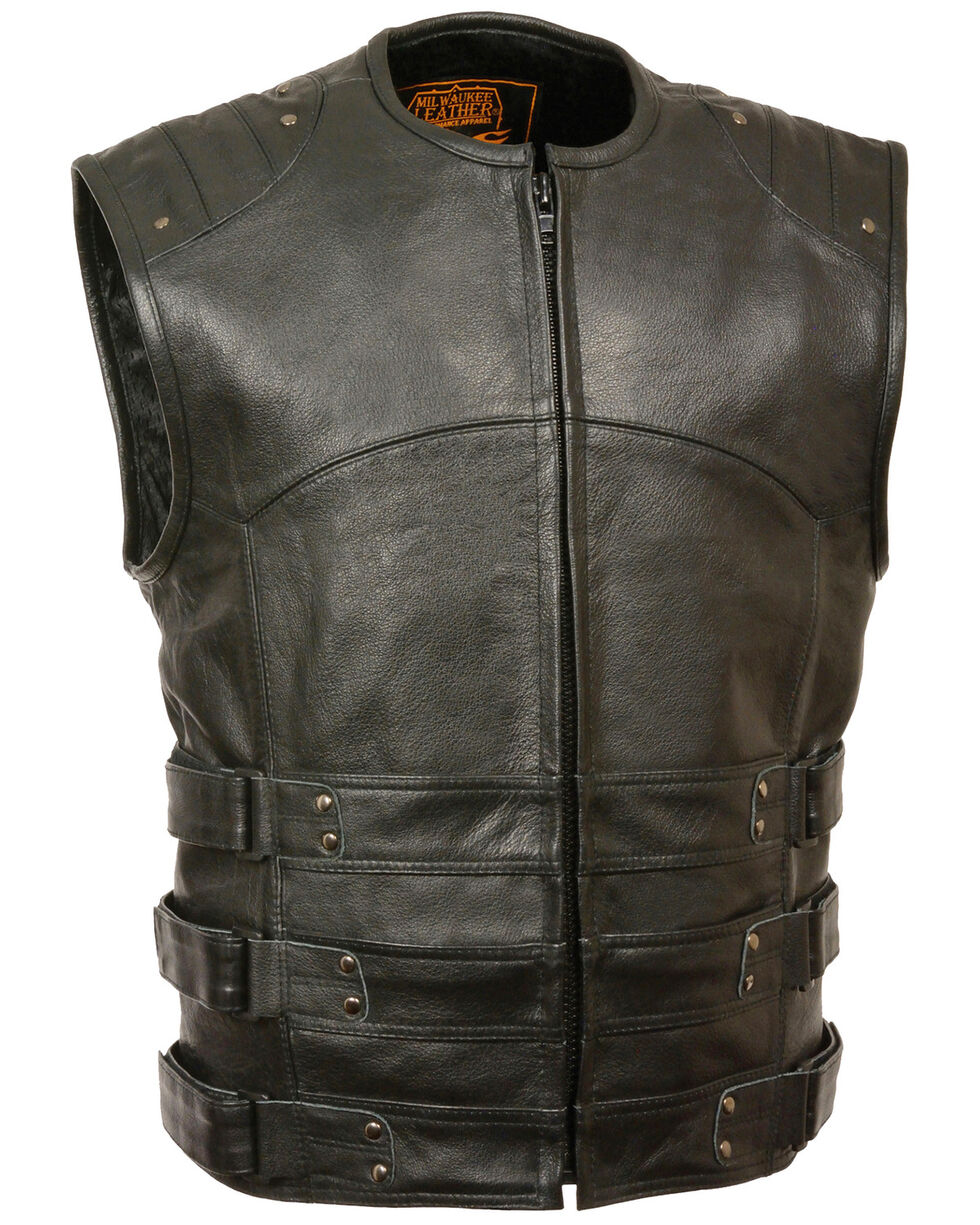 Milwaukee Leather Men's Updated SWAT Style Biker Vest, Black, hi-res