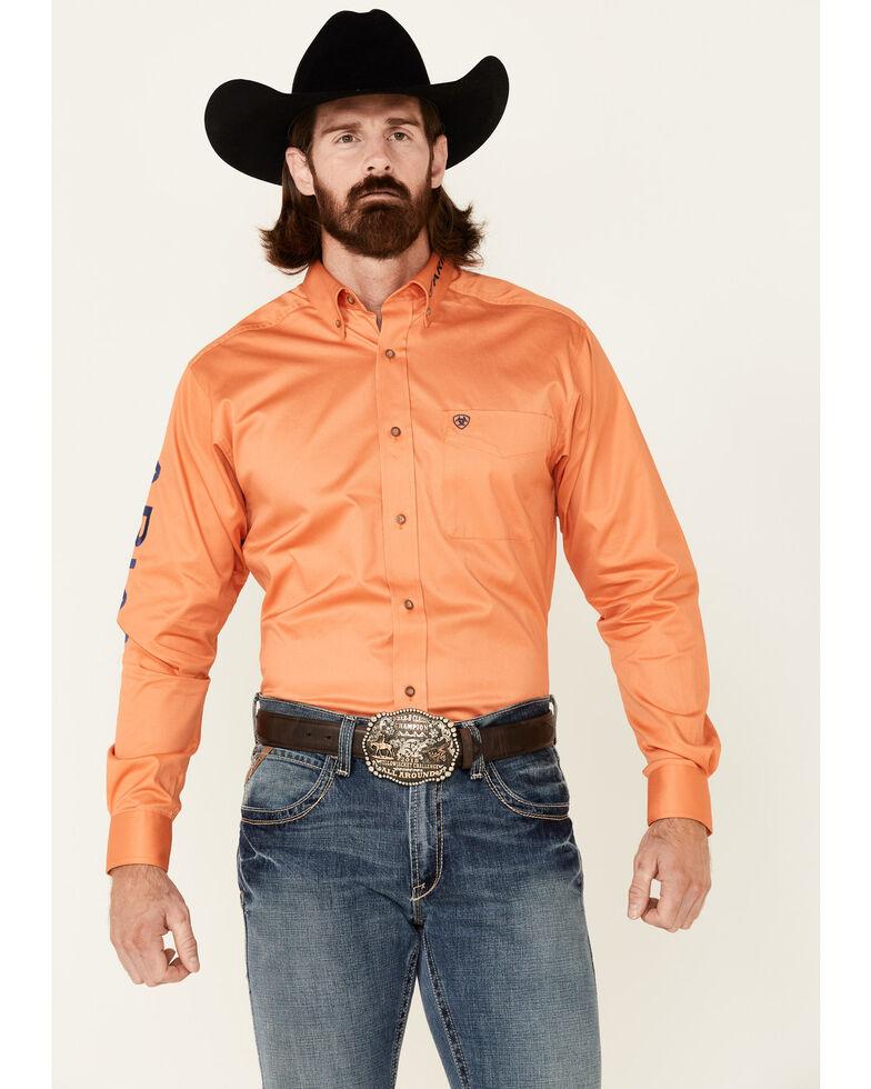 Ariat Men's Orange Twill Solid Team Logo Long Sleeve Button-Down Western Shirt , Red, hi-res