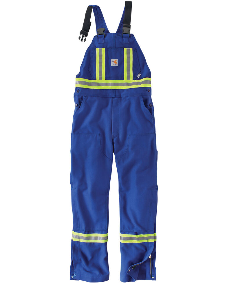 Carhartt Men's Flame Resistant High-Visibility Overalls, Royal, hi-res
