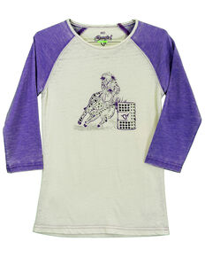 Cowgirl Hardware Toddler Girls' Barrel Racer Basic Raglan, Purple, hi-res