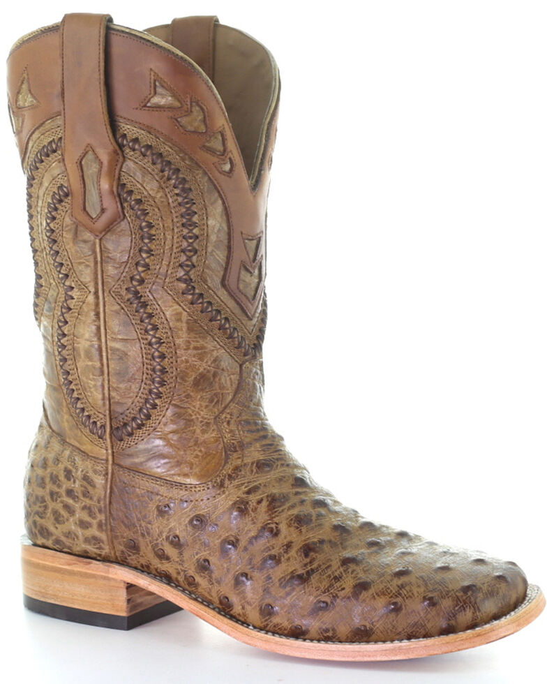 Corral Men's Woven Ostrich Overlay Western Boots - Square Toe, Tan, hi-res
