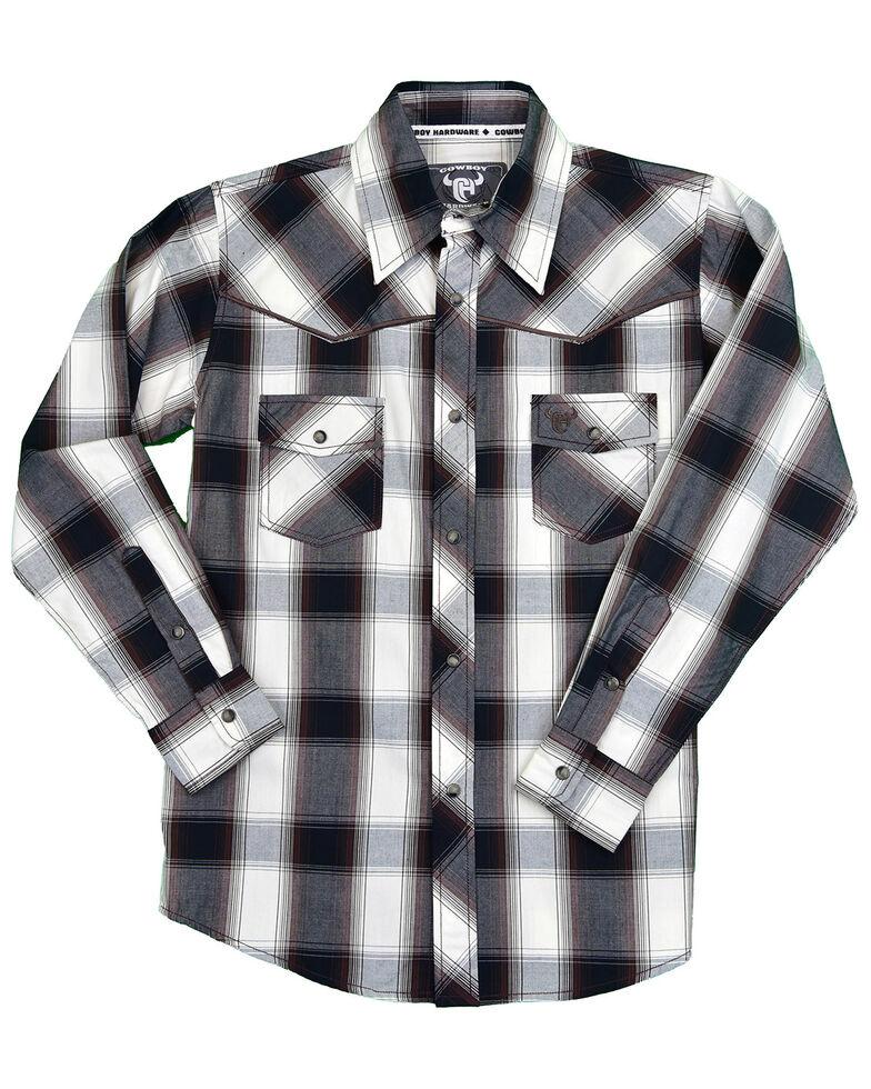 Cowboy Hardware Boys' Hombre Plaid Long Sleeve Snap Western Shirt , Black, hi-res