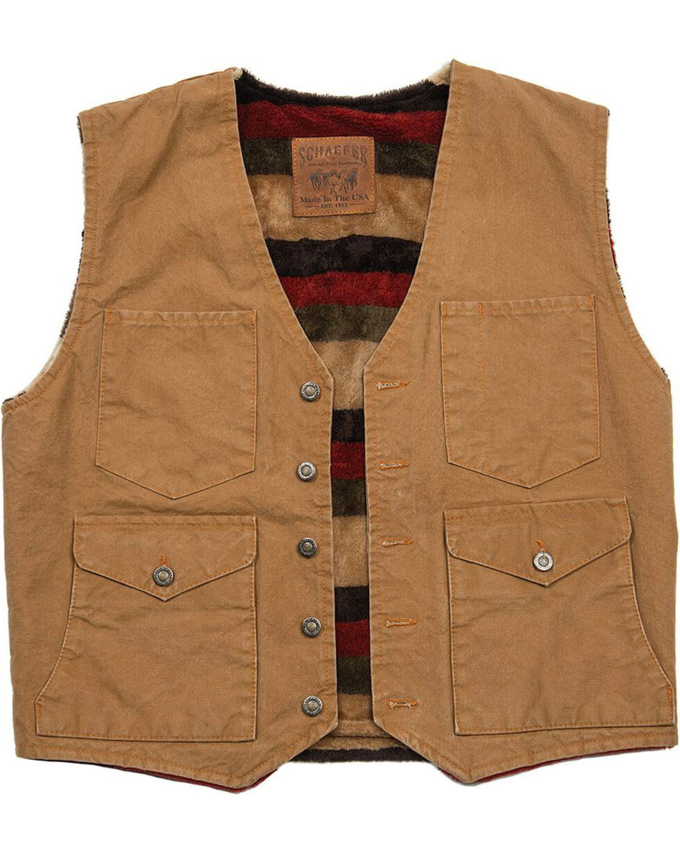 Schaefer Outfitter Men's Brown Blanket Lined Mesquite Vest - Big 2X, Brown, hi-res