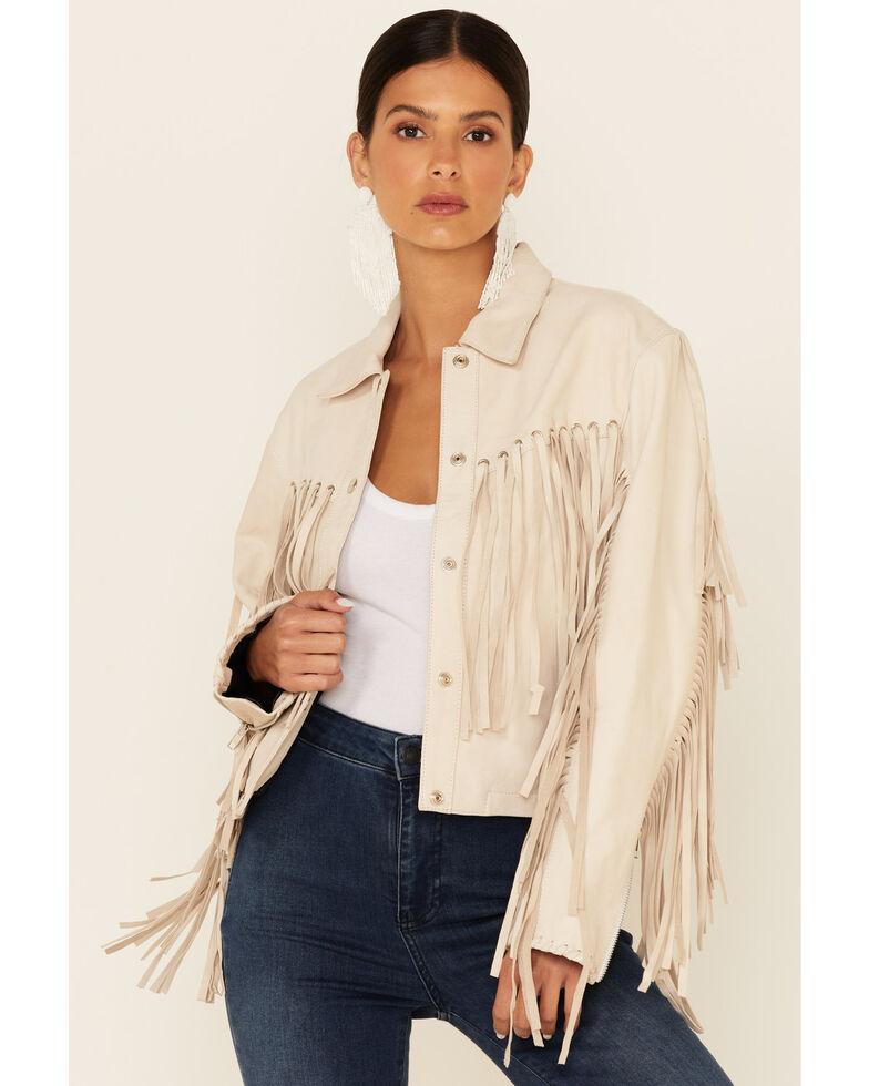 Understated Leather Women's Natural Mustang Fringe Snap-Front Leather Jacket , Natural, hi-res