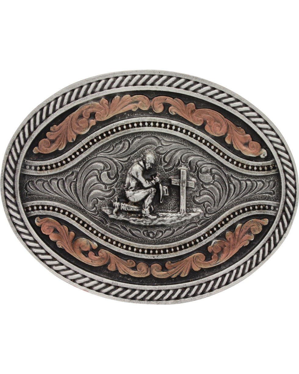 Montana Silversmiths Men's Praying Cowboy Classic Two Tone Attitude Channel Belt Buckle, Silver, hi-res
