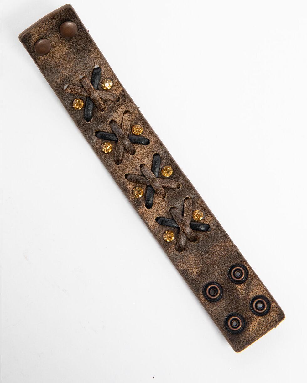 Shyanne Women's Two-Tone Criss-Cross Bracelet Cuff, Brown, hi-res