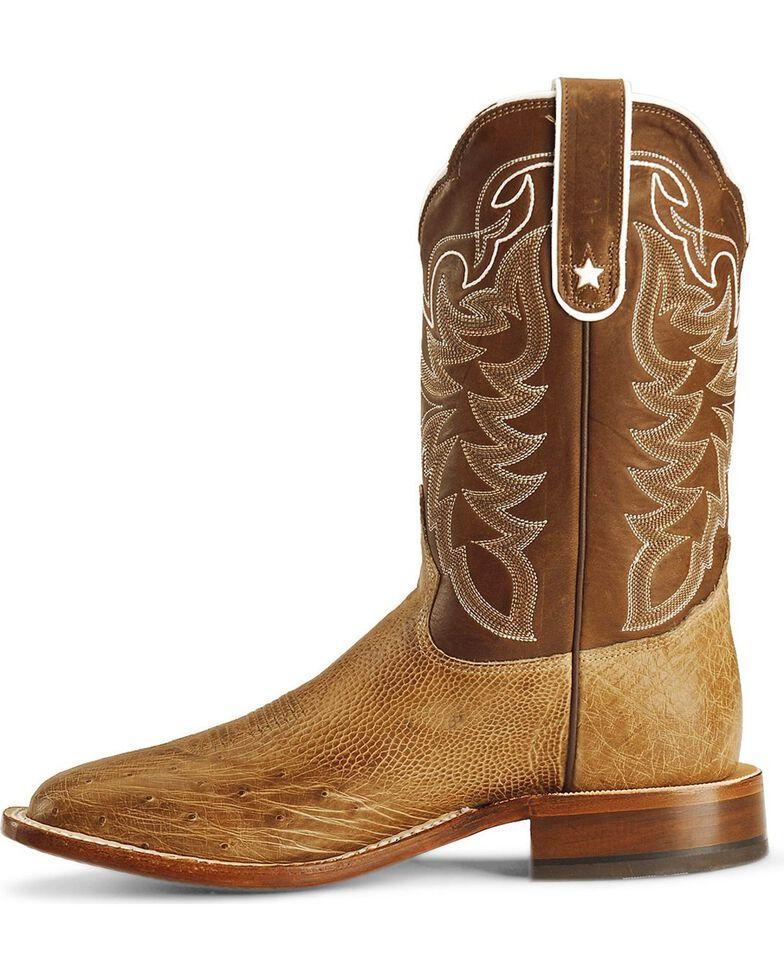 Tony Lama Smooth Ostrich Cowboy Boots - Square Toe, Antique Tan, hi-res