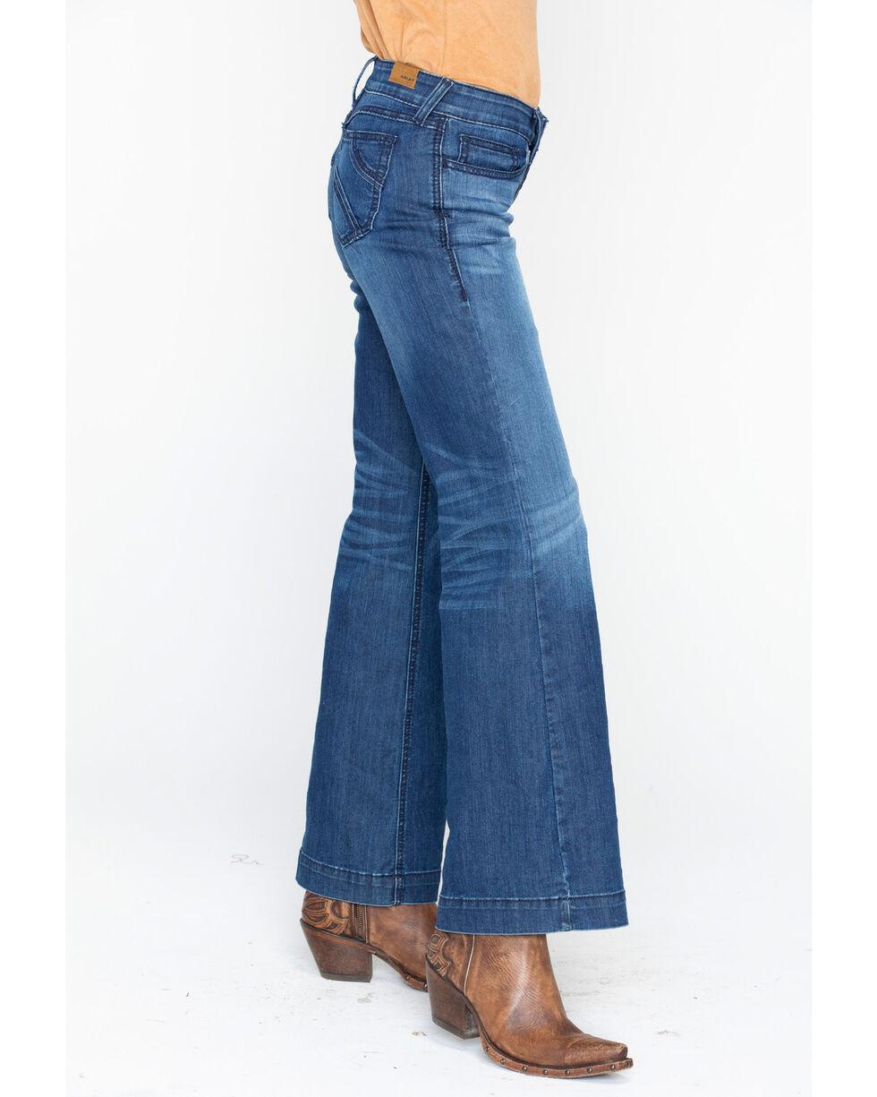 Ariat Women's Midrise Trouser Half Moon Boot Jeans, Blue, hi-res