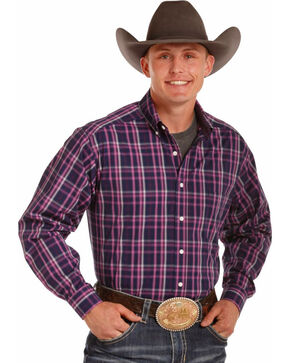 Tuf Cooper Performance by Panhandle Men's Pink Plaid Western Shirt , Pink, hi-res