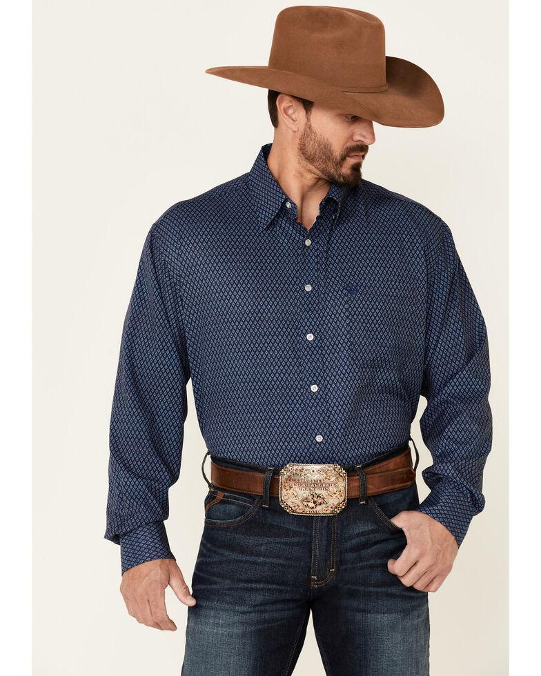 Panhandle Men's Navy Performance Geo Print Long Sleeve Button-Down Western Shirt , Navy, hi-res