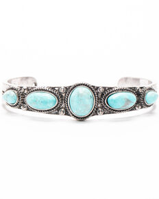 Shyanne Women's Autumn Multi Turquoise Concho Narrow Cuff Bracelet , Silver, hi-res