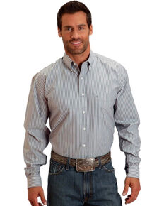 Stetson Men's Open One Pocket Striped Long Sleeve Shirt, Grey, hi-res