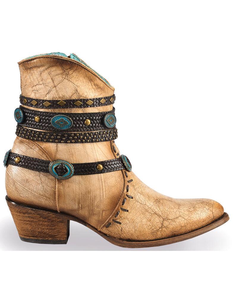 Corral Women's Zipper Studded Ankle Harness Fashion Boots, Beige/khaki, hi-res