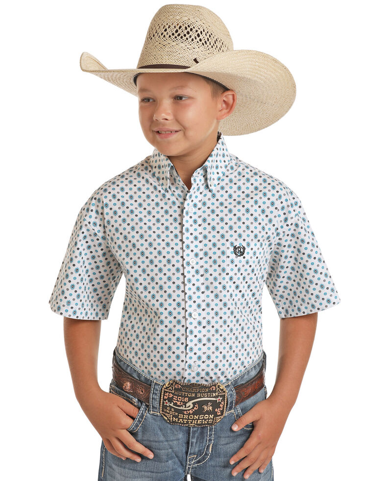 Panhandle Select Boys' White Geo Print Short Sleeve Western Shirt , White, hi-res
