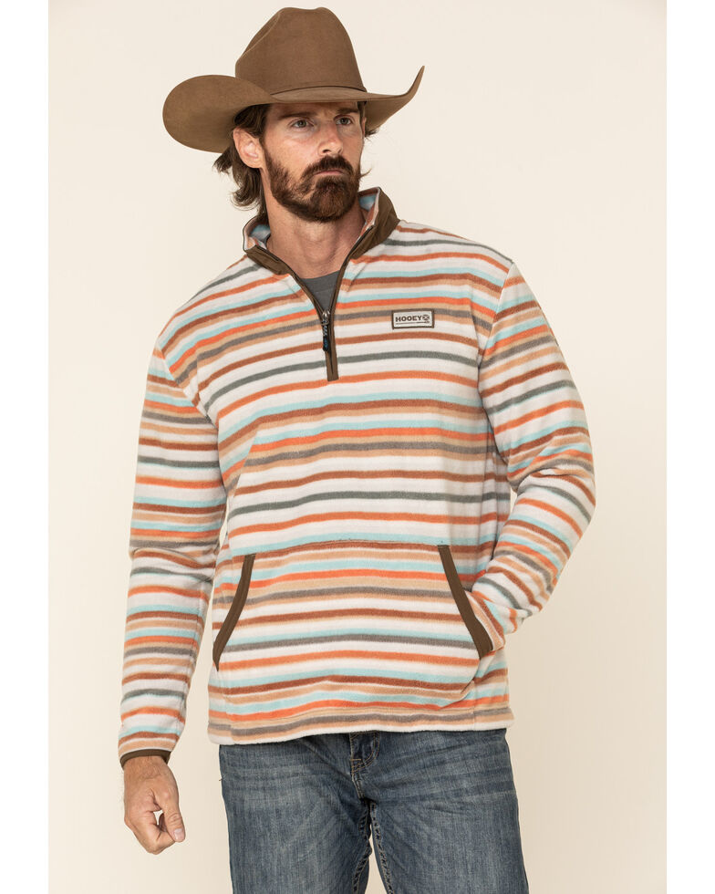 HOOey Men's Striped 1/4 Zip Pullover , Multi, hi-res