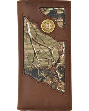 3D Men's Leather Shotgun Shell Checkbook Wallet, Camouflage, hi-res