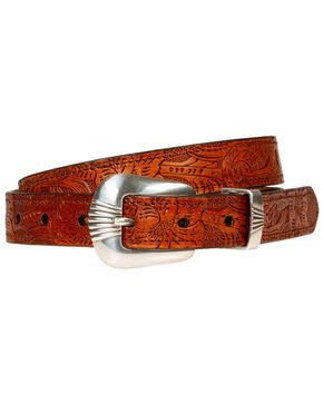 Wrangler Women's 25MM Scallop Two Piece Buckle Set, Cognac, hi-res
