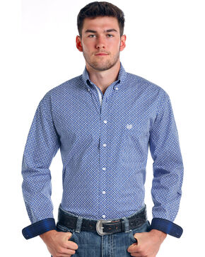 Rough Stock by Panhandle Men's Donato Vintage Print Long Sleeve Button Down Shirt, Royal Blue, hi-res