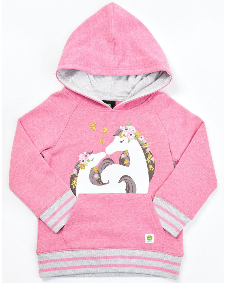 John Deere Toddler Girls' White Horses Long Sleeve Pink & Grey Fleece Pullover Hoodie, Pink, hi-res