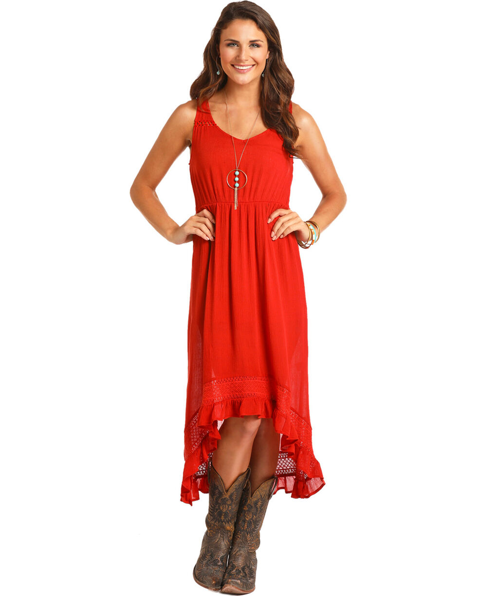 Rock & Roll Cowgirl Women's Orange High-Low Lace Trim Dress , Orange, hi-res