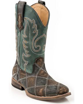 Roper Kid's Patchwork Square Toe Western Boots, Distressed, hi-res