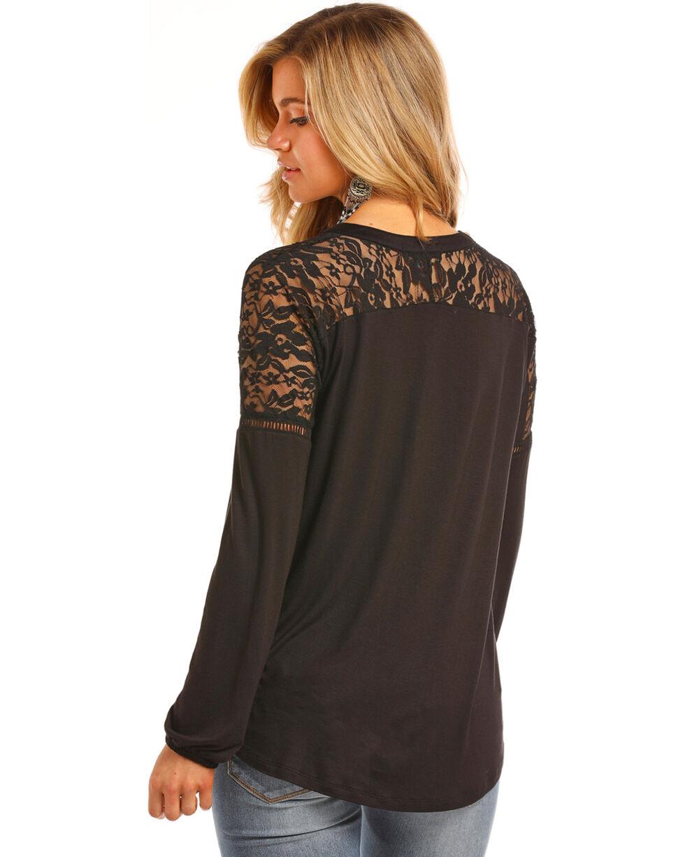 Rock & Roll Cowgirl Women's Black Lace Shoulder Top , Black, hi-res
