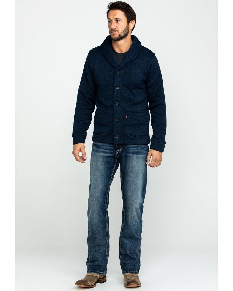 Levis Men's Solid Fleece Button Front Sweater, Navy, hi-res