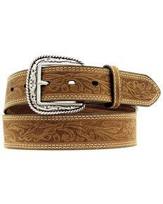 Ariat Floral Embossed Leather Belt, Brown, hi-res