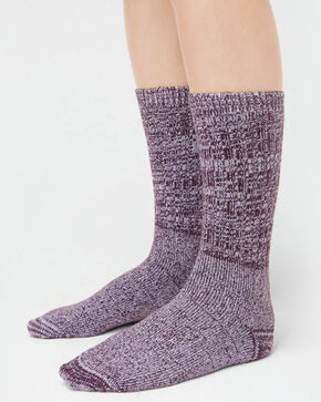 UGG® Women's Slouch Knit Crew Socks, Wine, hi-res