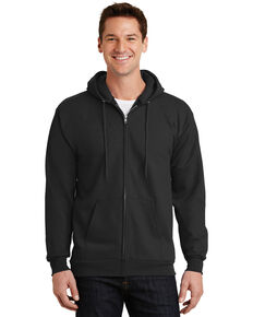 Port & Company Men's Jet Black  L-XL Essential Fleece Full Zip Hooded Work Sweatshirt - Tall , Jet Black, hi-res