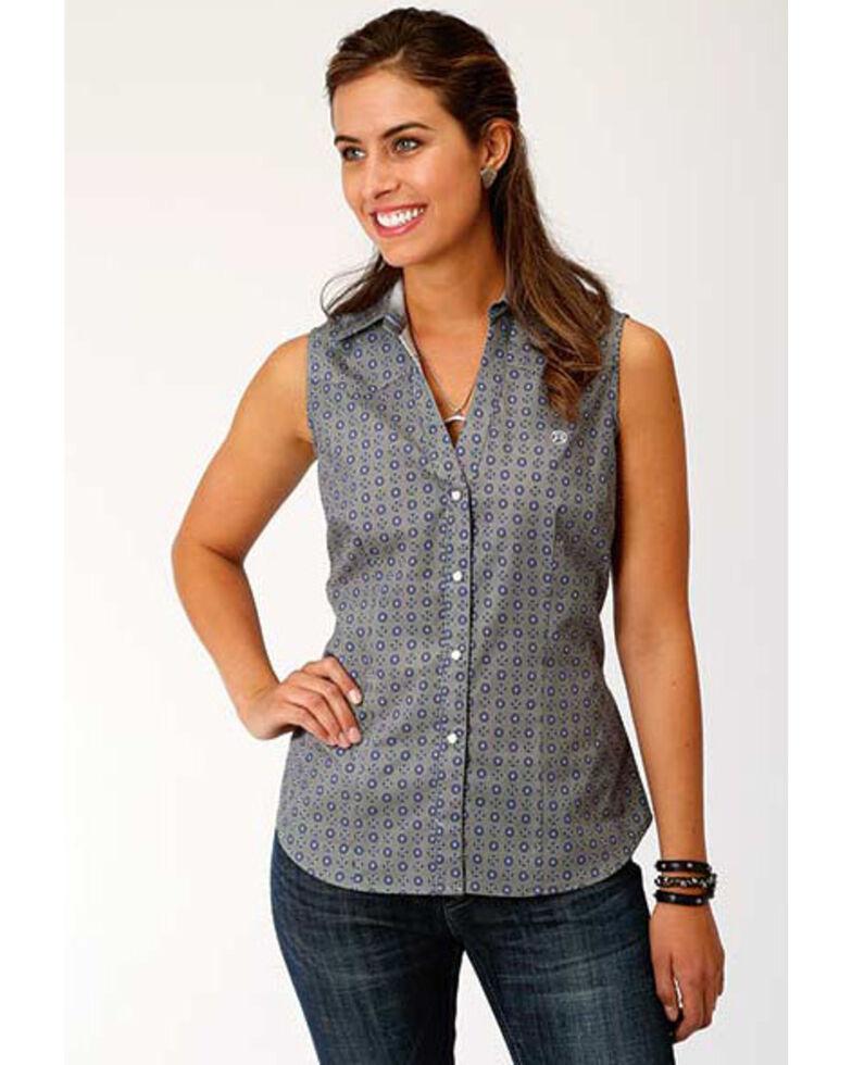 Amarillo Women's Geo Snap Sleeveless Western Shirt, Grey, hi-res