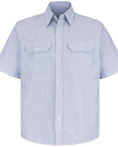 Red Kap Men's Deluxe Uniform Striped Short Sleeve Work Shirt , White W Stripe, hi-res
