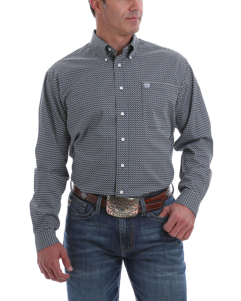 Cinch Men's Multi Square Geo Print Long Sleeve Western Shirt , Multi, hi-res