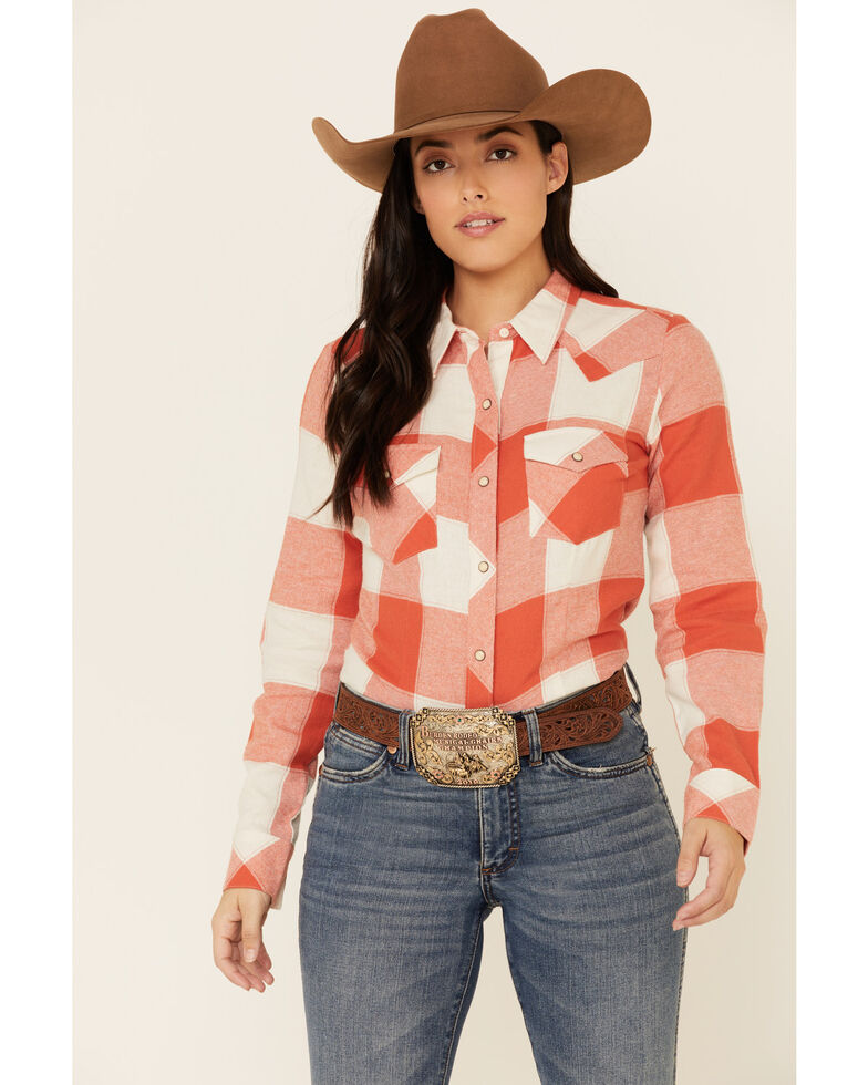 Wrangler Women's Coral Plaid Snap Long Sleeve Western Core Shirt , Coral, hi-res