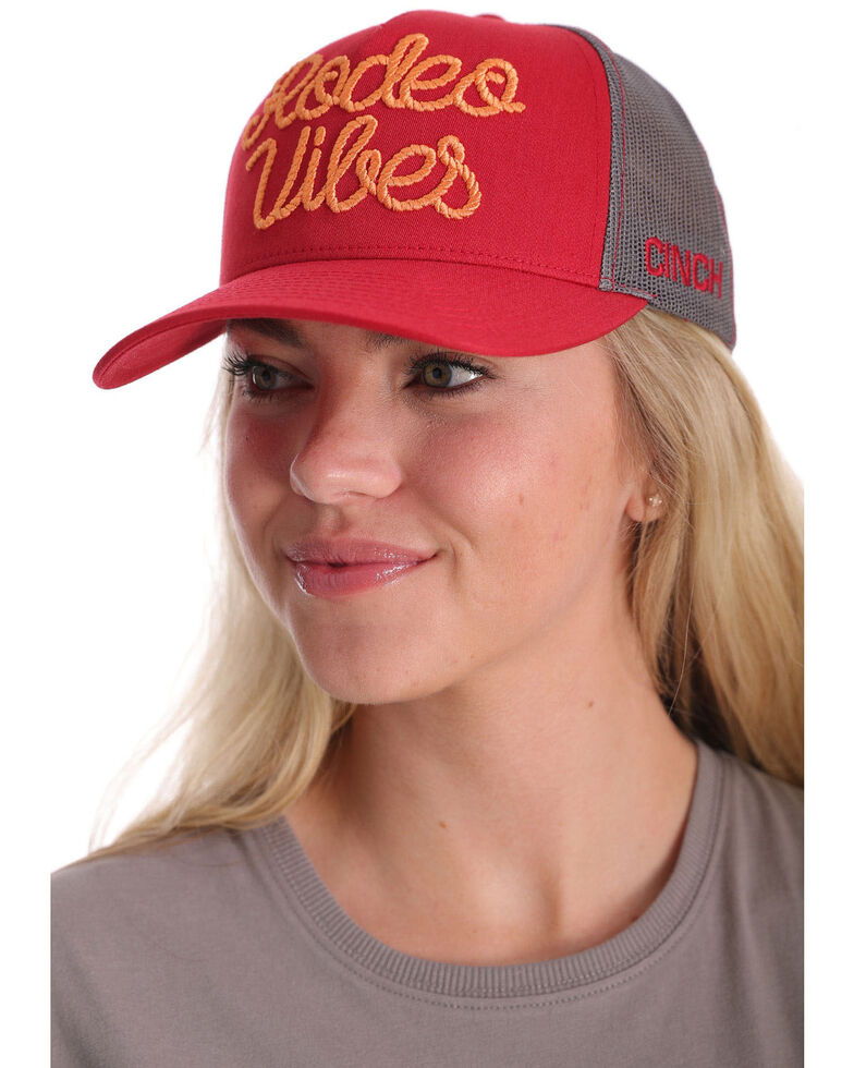 Cinch Women's Red Rodeo Vibes Embroidered Flex Fit Mesh Trucker Cap , Red, hi-res
