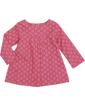 Wrangler Toddler Girls' Printed Long Sleeve Tunic, Pink, hi-res