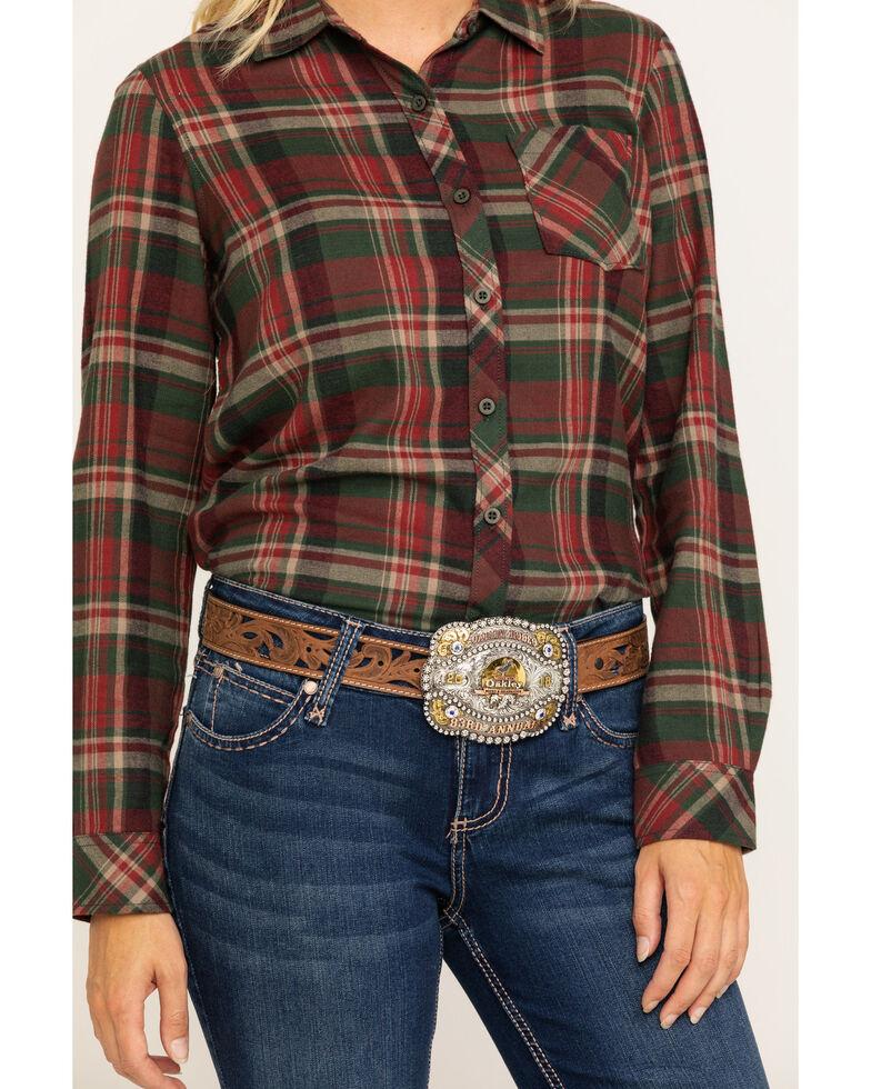 North River Women's Rust Plaid Long Sleeve Flannel Shirt, , hi-res