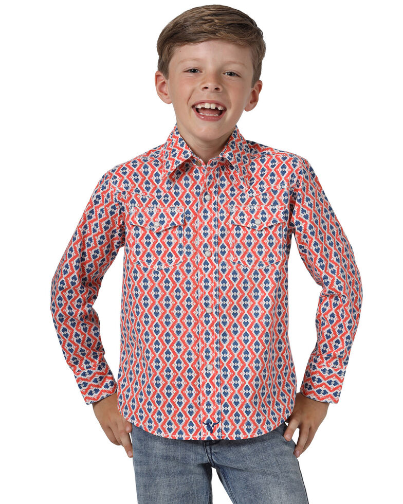 Wrangler 20X Boys' Coral Geo Print Advanced Comfort Long Sleeve Western Shirt , Coral, hi-res