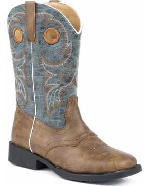 Roper Youth Boys' Daniel Distressed Saddle Vamp Cowboy Boots - Square Toe, Brown, hi-res