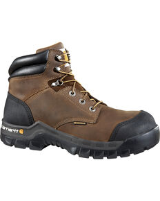 "Carhartt Men's 6"" Rugged Flex Waterproof Work Boots - Composite Toe, Dark Brown, hi-res"