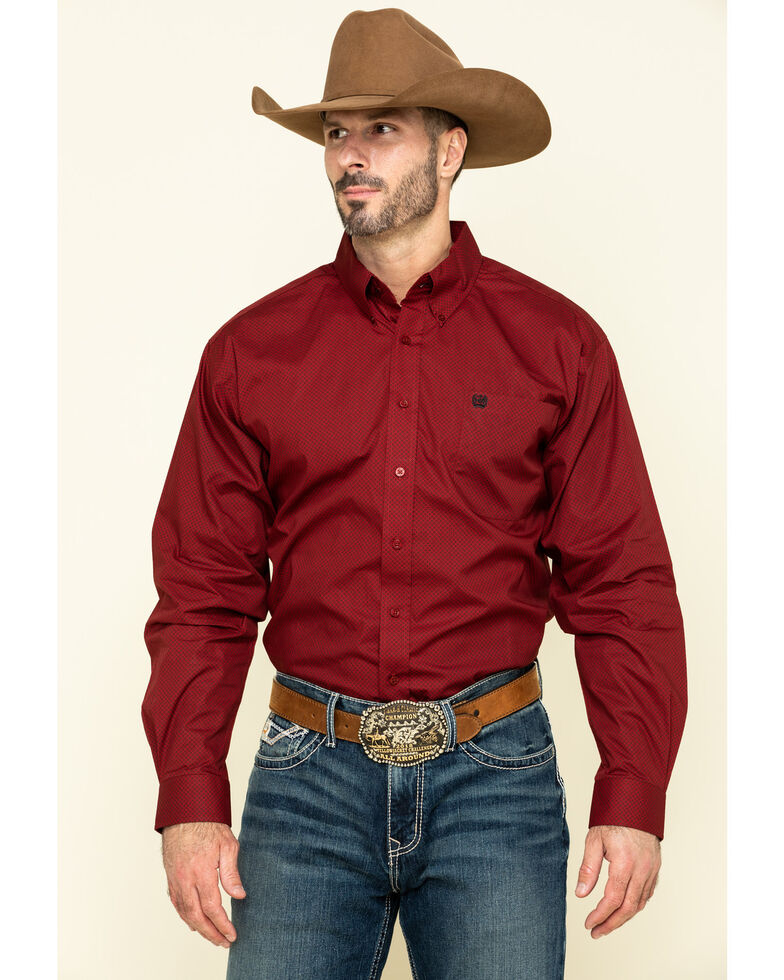 Cinch Men's Red Circle Geo Print Long Sleeve Western Shirt , Red, hi-res