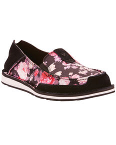 Ariat Women's Satin Floral Cruiser Slip On Shoes - Moc Toe, Black, hi-res
