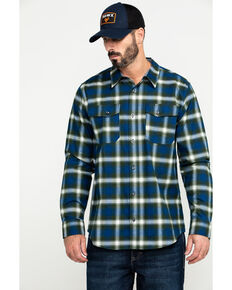 Hawx Men's Blue Lineman Plaid Stretch Flannel Long Sleeve Work Shirt , Blue, hi-res