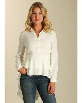 Wrangler Women's Ivory Tiered Ruffle Hem Long Sleeve Top, White, hi-res