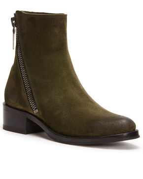 Frye Women's Forest Demi Zip Booties - Round Toe , Dark Green, hi-res