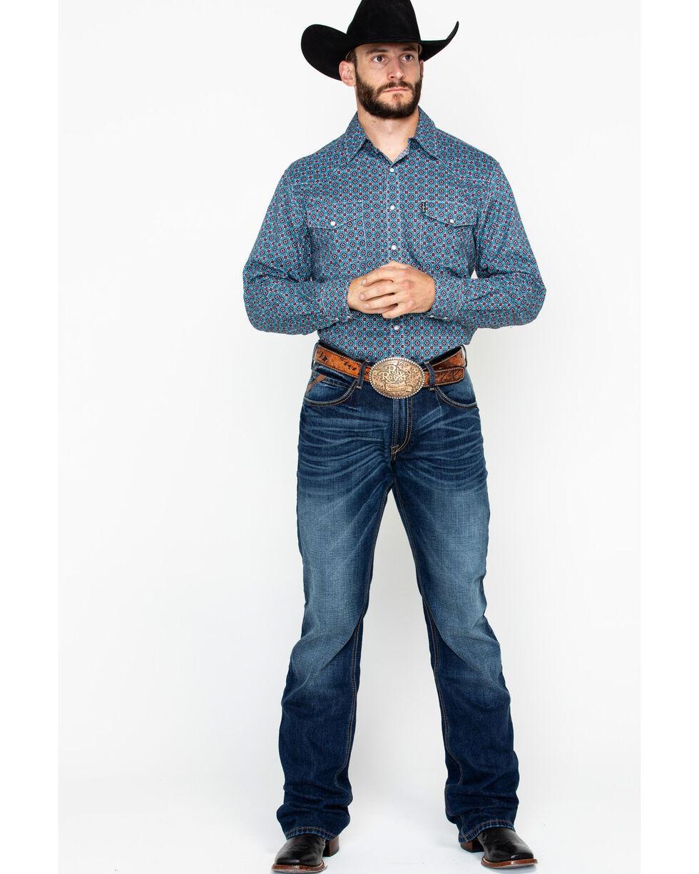 Cinch Men's Blue and Red Geo Print Long Sleeve Western Shirt , Wine, hi-res