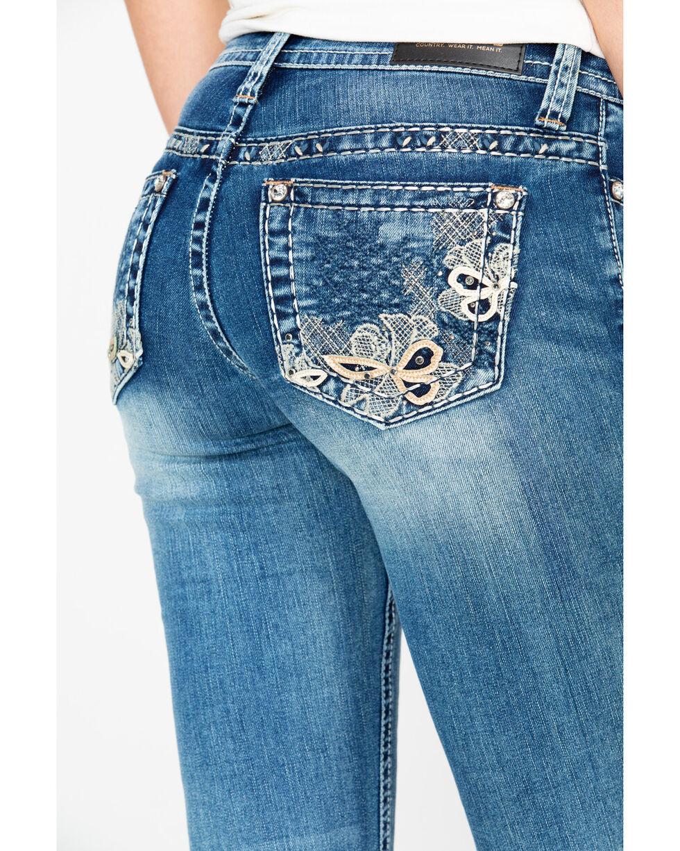 Shyanne Women's Floral Midrise Boot Jeans, Blue, hi-res