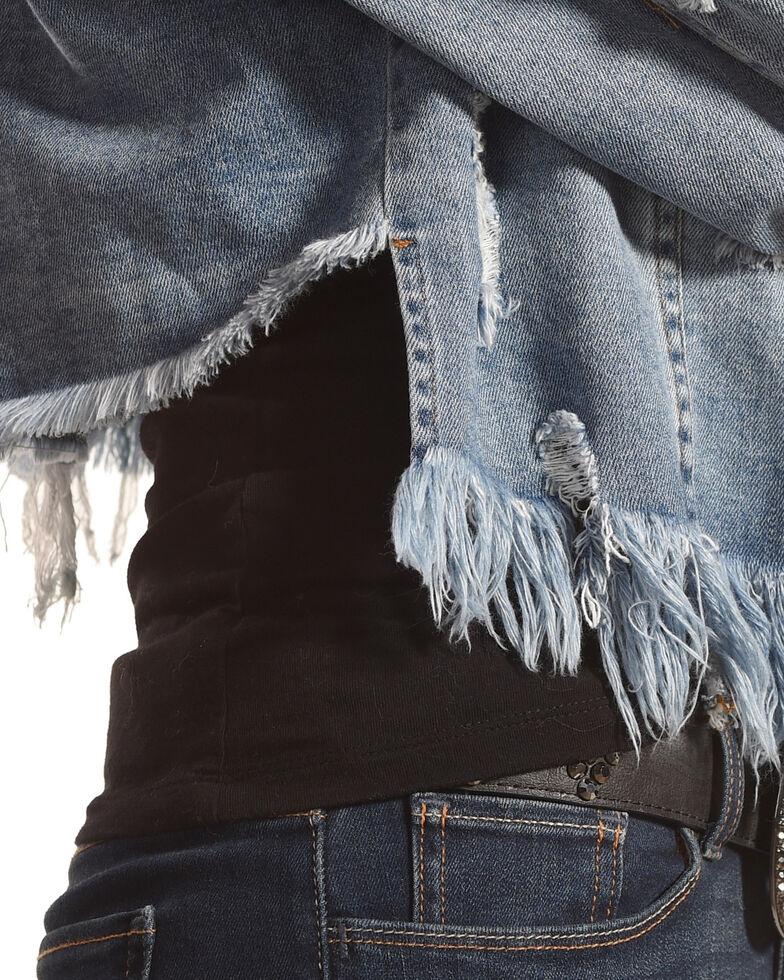 Tractr Blu Women's Cropped Frayed Hem Denim Jacket, Indigo, hi-res